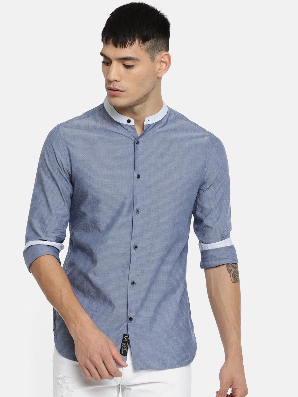 Being Human Men Blue Slim Fit Self Design Casual Shirt