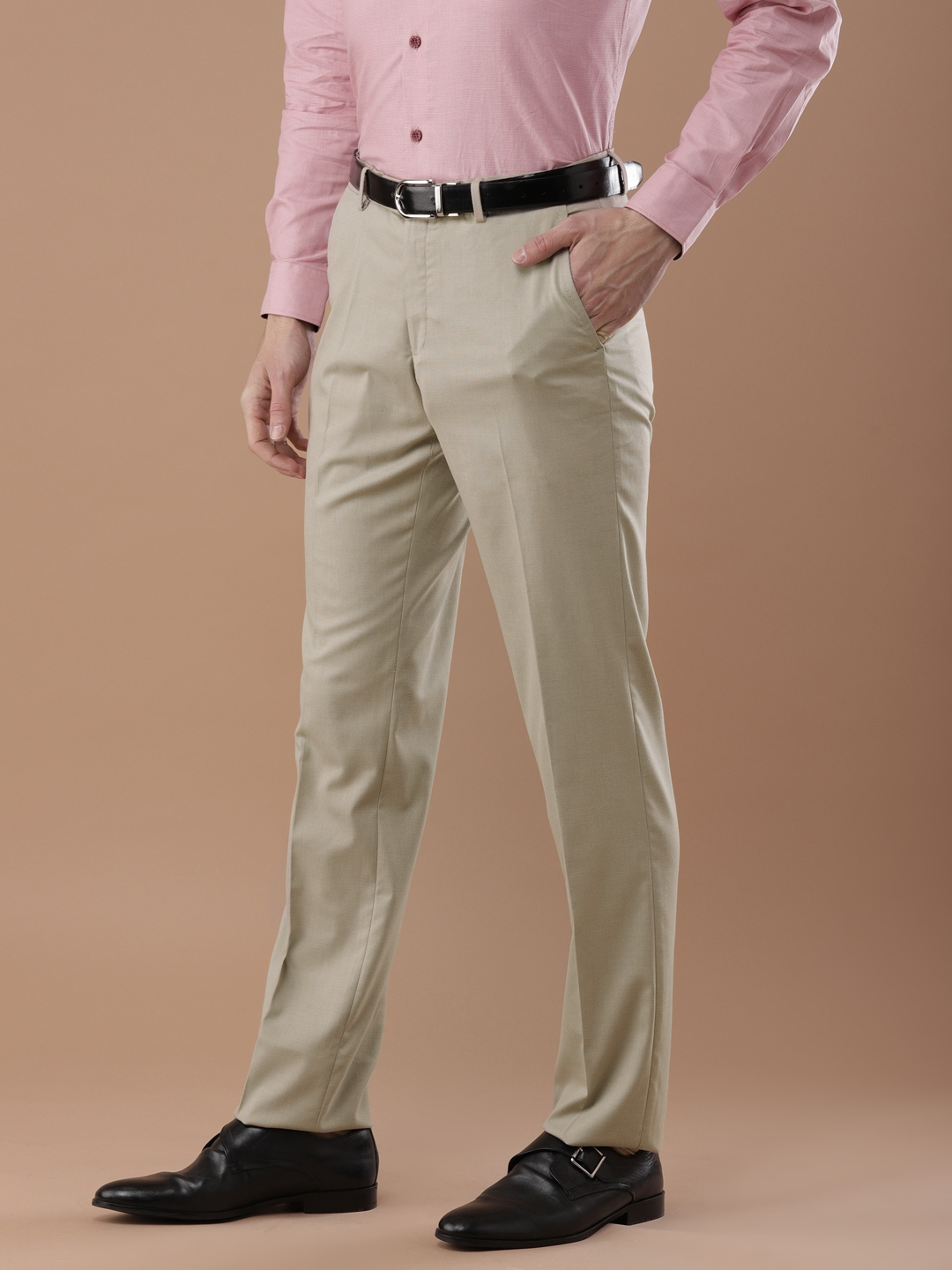 c0e7a1e56d5 Buy Louis Philippe Men Beige Ultra Regular Fit Solid Formal Trousers ...