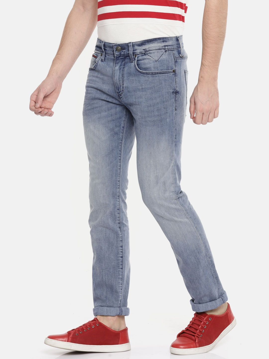 b8bccafb2 Tommy Hilfiger Men Blue Straight Fit Mid-Rise Clean Look Stretchable Jeans