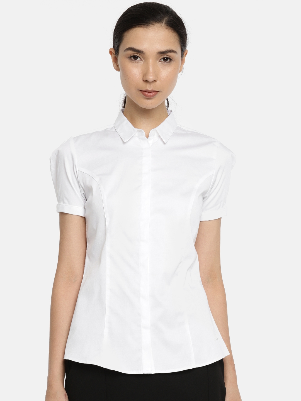 db0a8c0c0a8 Buy Van Heusen Women White Slim Fit Solid Formal Shirt - Shirts for ...