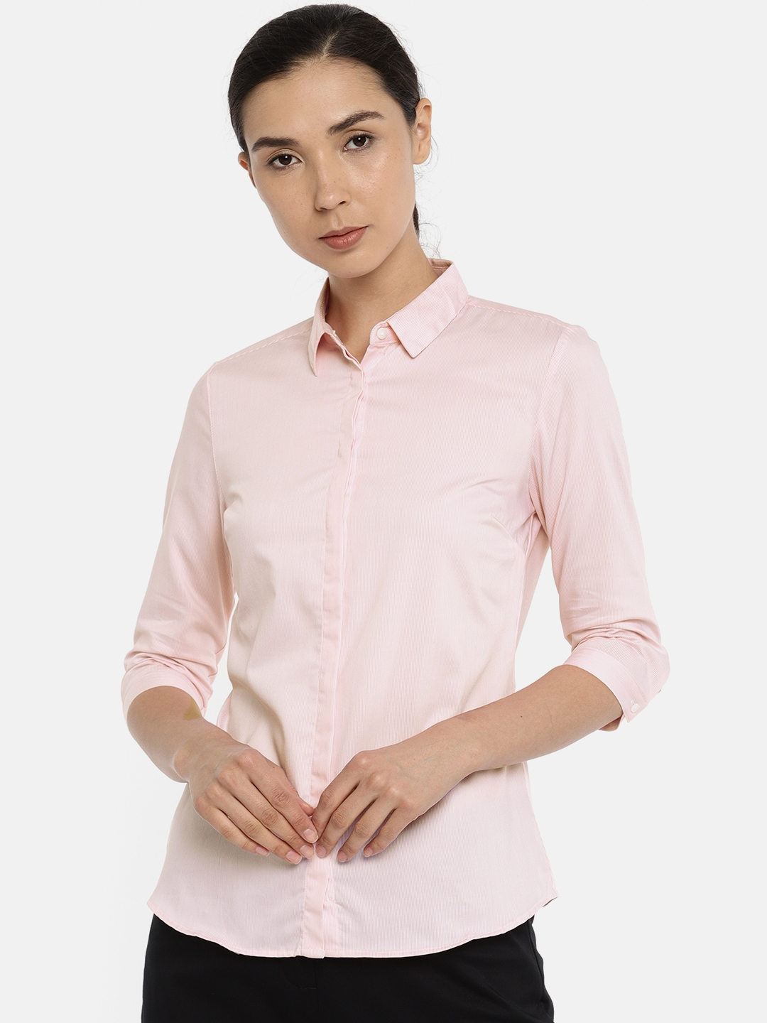 Van Heusen Woman Women Pink Regular Fit Striped Formal Shirt Van Heusen Woman Shirts
