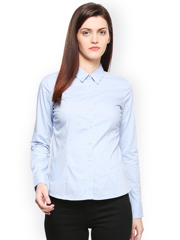 Van Heusen Woman Women Blue Regular Fit Solid Formal Shirt