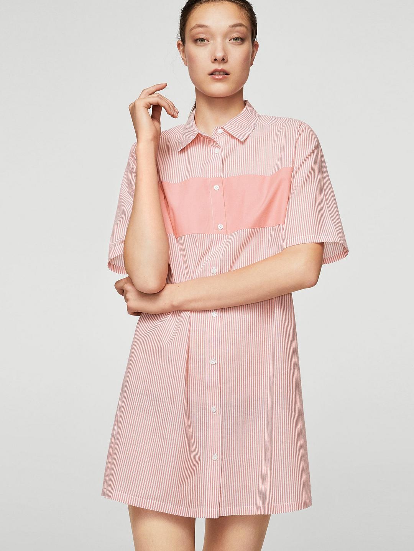 a8b996bfb2917 Buy MANGO Women Pink Striped Shirt Dress - Dresses for Women 5567521 ...
