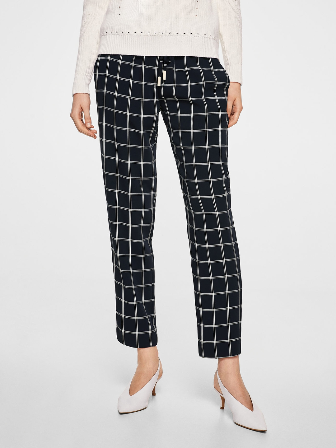 786bc2f38f2 Buy MANGO Women Navy Blue Regular Fit Checked Trousers - Trousers ...