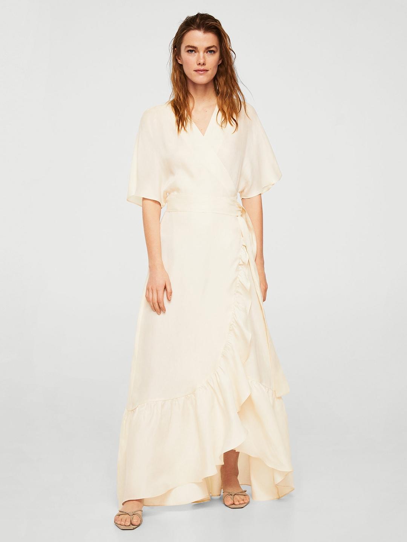 55bbcaf7b85e Buy MANGO Women Cream Coloured Solid Maxi Dress - Dresses for Women ...
