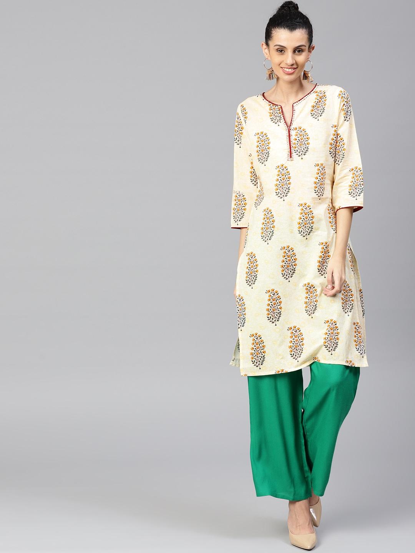 4e7a7013ea0c Jaipur Kurti Women Cream-Coloured & Green Printed Kurta with Palazzos