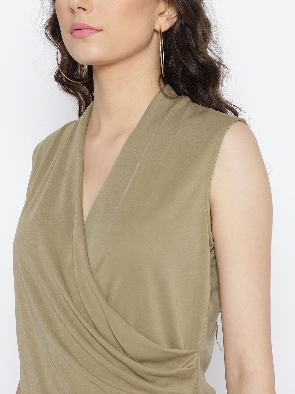 47849e92b82 Buy MANGO Women Khaki Solid Wrap Dress - Dresses for Women 5591325 ...