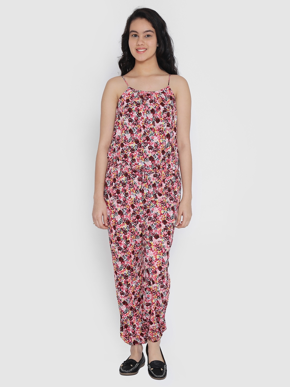 2f15b3f61 Natilene Girls Peach-Coloured & Red Printed Basic Jumpsuit. Best Price: ...