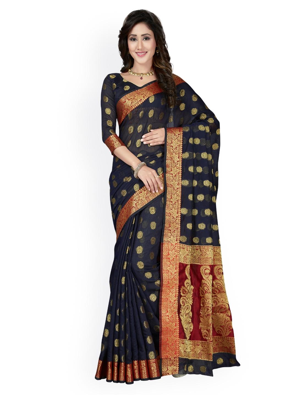 e5d5a5d683 Buy Saree Swarg Navy Blue Cotton Blend Woven Design Banarasi Saree ...