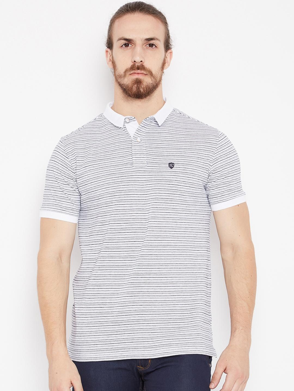 Buy Numero Uno Men White   Black Striped Polo T Shirt - Tshirts for ... d09bf8021