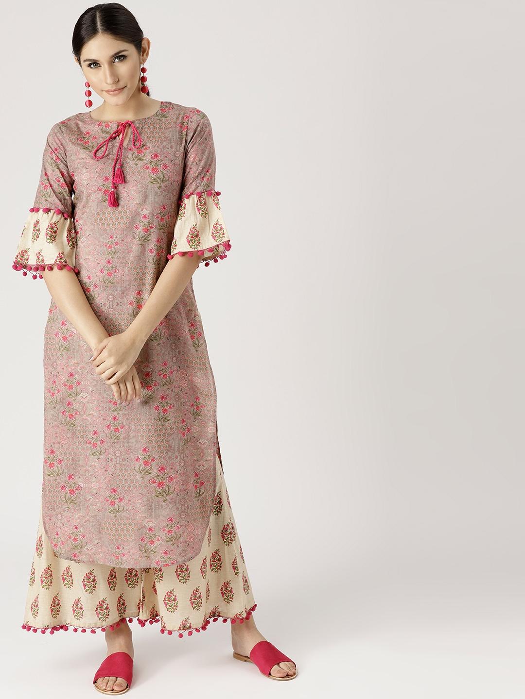 afc1d1a0234 Buy Libas Women Pink   Beige Printed Kurta With Palazzos - Kurta ...