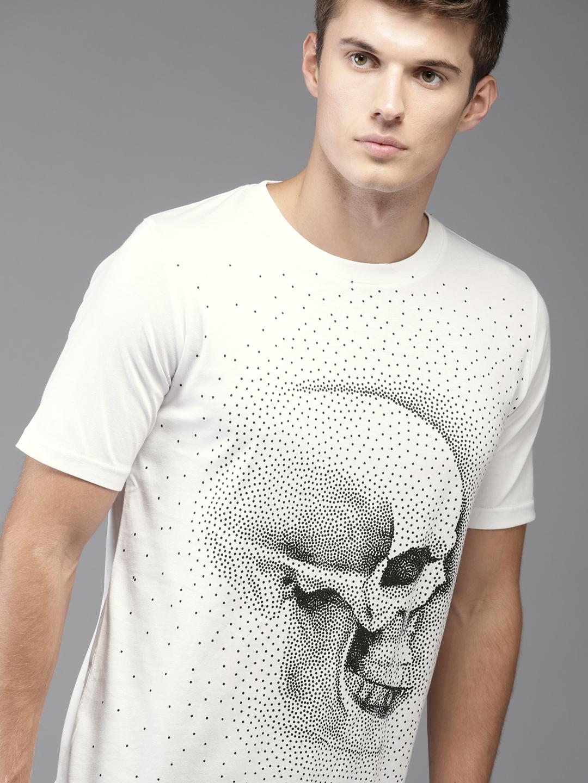 25cb0d255 Buy Moda Rapido Men White Printed Round Neck Longline T Shirt ...