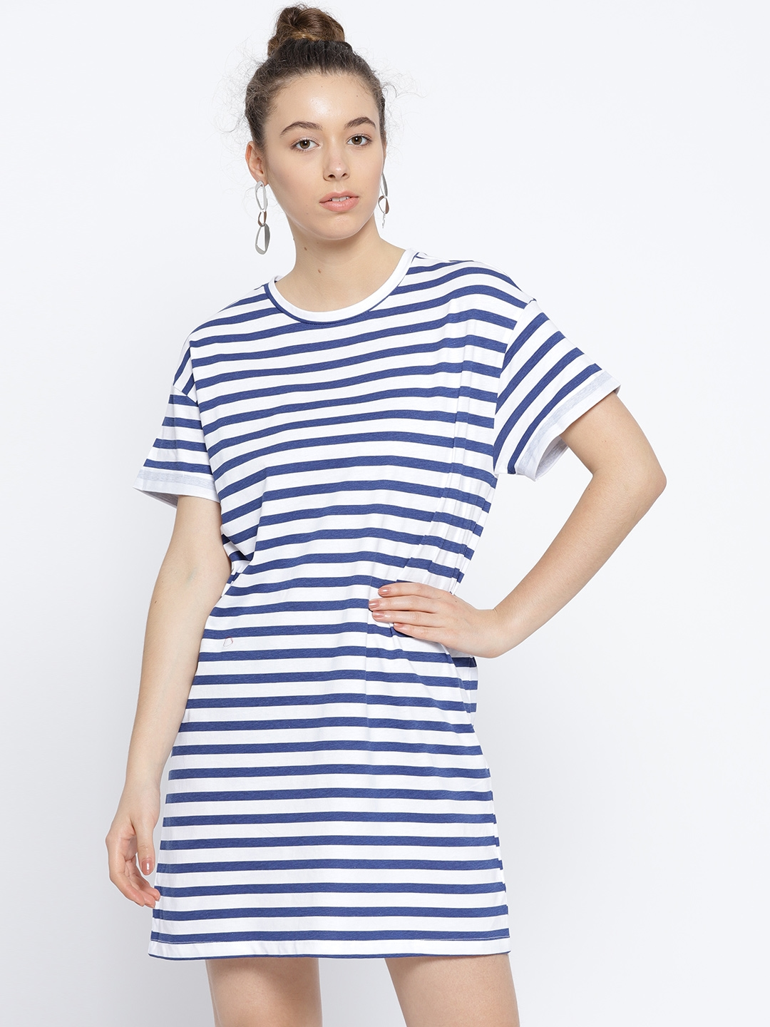 4e441b894a34 Buy OVS Women Navy Blue   White Striped T Shirt Dress - Dresses for ...