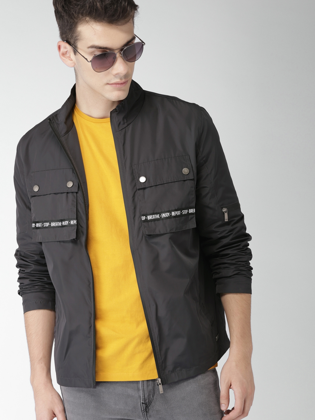 a773a92d615 Buy Mast   Harbour Men Charcoal Solid Tailored Jacket - Jackets for ...