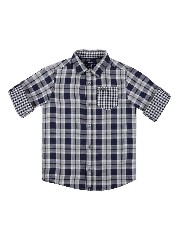 50eb9babc URBAN SCOTTISH Boys Navy Blue Standard Regular Fit Checked Casual Shirt