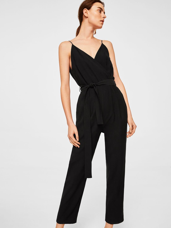 2e3441d4fad Buy MANGO Black Solid Basic Jumpsuit - Jumpsuit for Women 5648787 ...