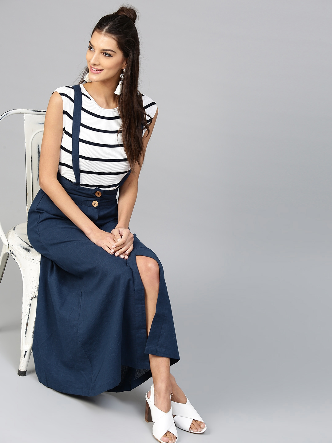 Image result for SASSAFRAS Navy Blue Maxi Skirt with Suspenders