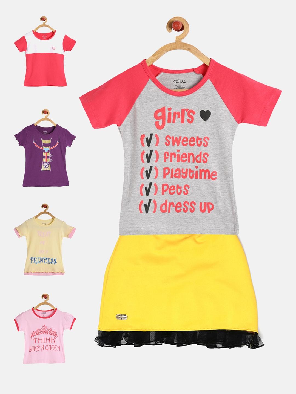 b6baec411db6 Buy GKIDZ Girls Pack Of 5 Printed T Shirts With Skirt - Clothing Set ...