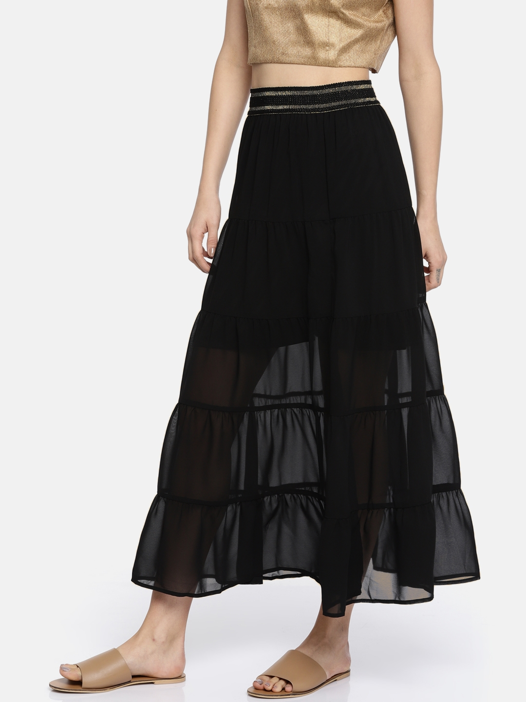 edfc1aa21d471f Buy Madame Black Semi Sheer A Line Maxi Skirt - Skirts for Women ...