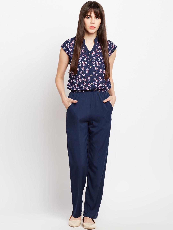 131a73dc18 Buy Ruhaans Women Navy Blue Printed Basic Jumpsuit - Jumpsuit for ...
