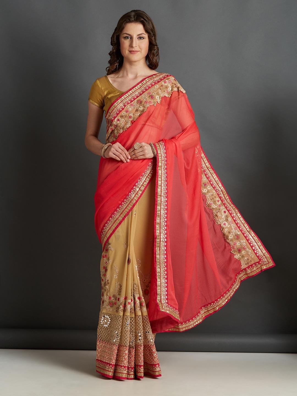 359816b897c939 Buy Mitera Women Red & Beige Pure Georgette Embroidered Saree ...