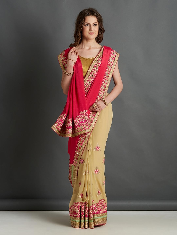 5df32232e118e6 Buy Mitera Women Pink & Beige Silk Blend Embroidered Saree - Sarees ...