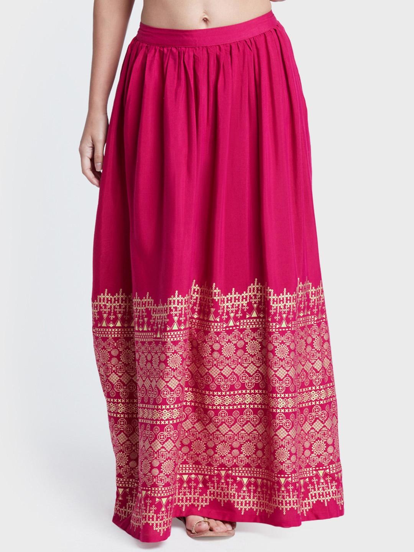 c7e07fbe3c Buy Global Desi Women Pink Printed A Line Maxi Skirt - Skirts for ...