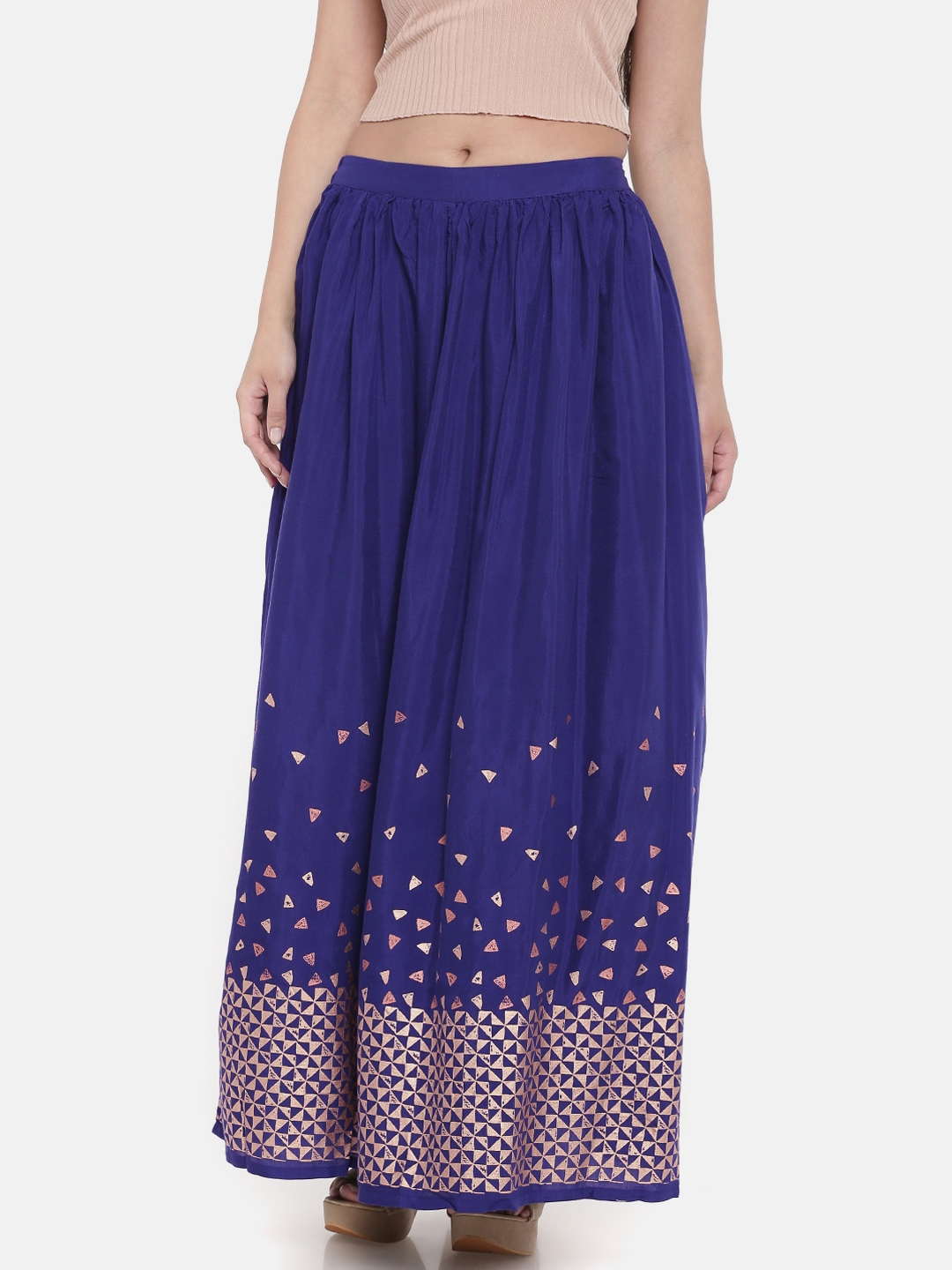ea7a8aa3c1 Buy Global Desi Women Blue Printed A Line Maxi Skirt - Skirts for ...