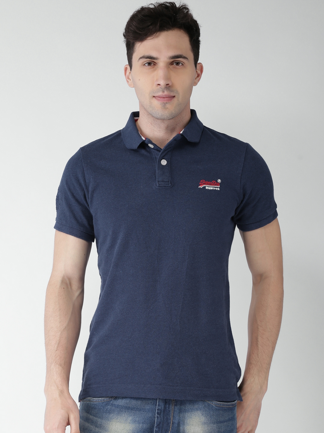 0e521731 Buy Superdry Men Navy Blue Solid Polo Collar T Shirt - Tshirts for ...