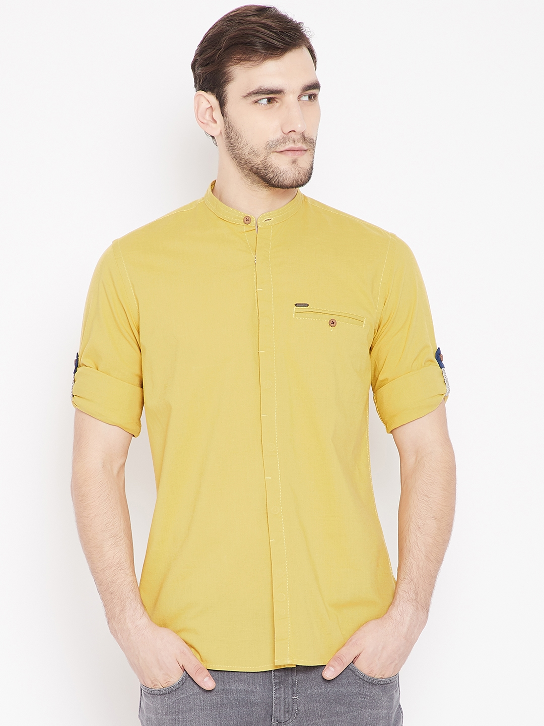 9baf3bbd97016e Buy Peter England Casuals Men Mustard Yellow Slim Fit Solid Casual ...