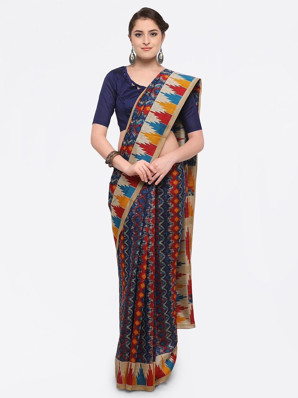1a4c2f27b Navy Blue Bhagalpuri Silk Printed Saree
