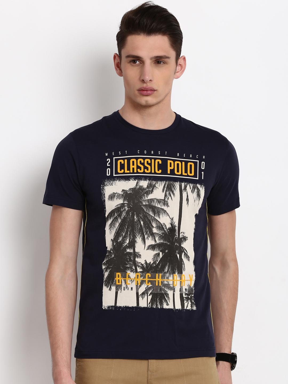 91d8eeb8 Buy Classic Polo Men Navy Blue Printed Round Neck T Shirt - Tshirts ...