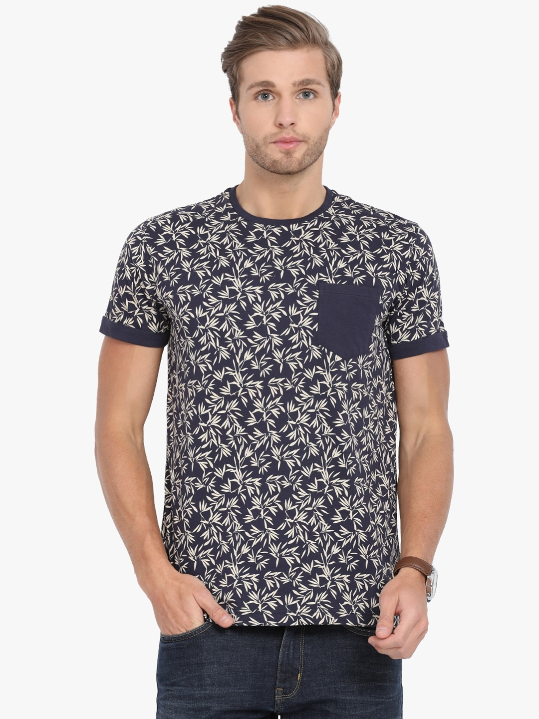d6454056 Buy Classic Polo Men Navy Blue Printed Slim Fit Round Neck T Shirt ...