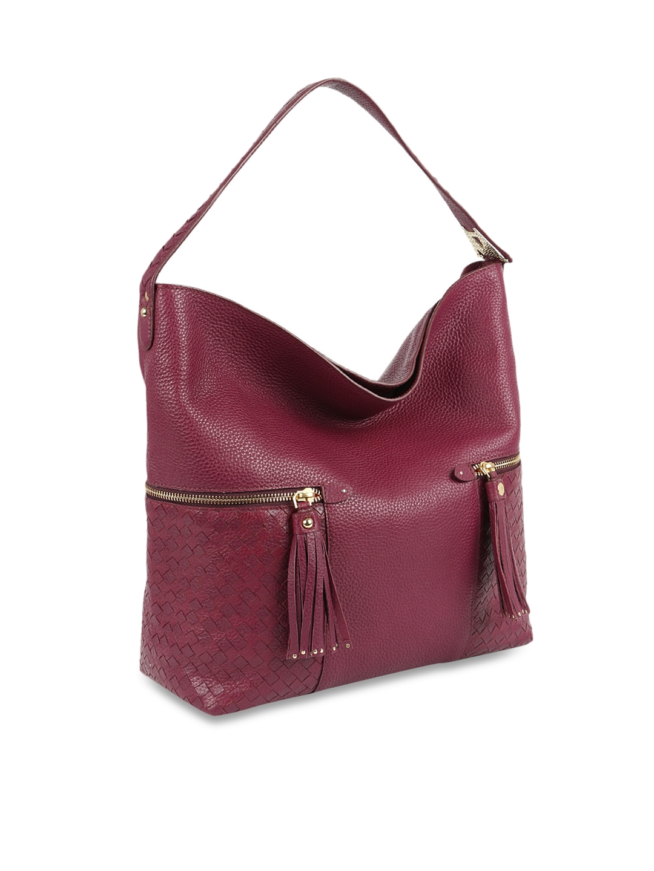 43f61dc7c5a8 Buy Da Milano Purple Textured Genuine Leather Hobo Bag - Handbags ...