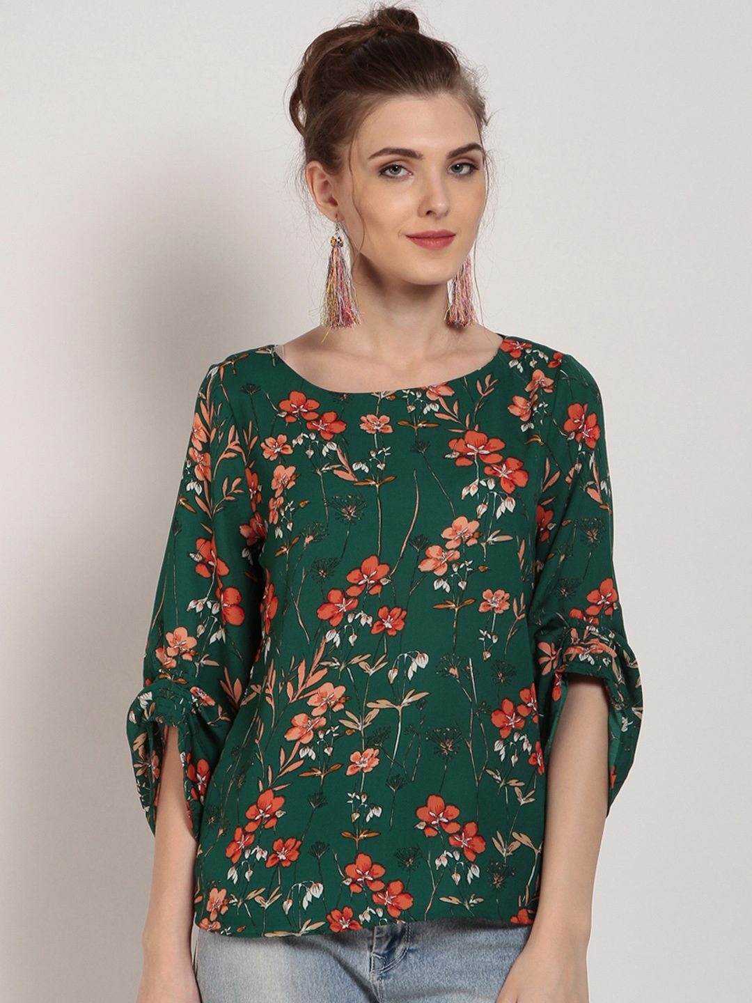 ca8f3e21d706 Buy RARE Women Green Floral Print Top - Tops for Women 5803886 | Myntra