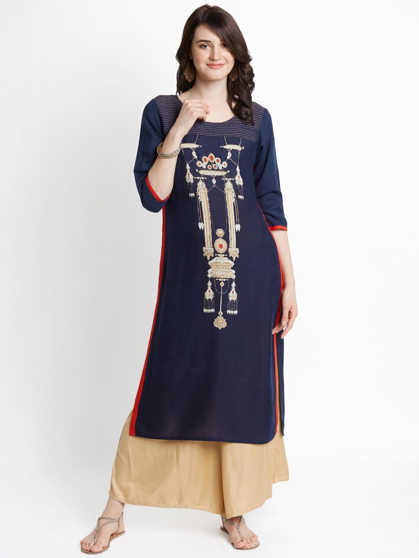 7ffd82f4528 Buy RANGMANCH BY PANTALOONS Women Navy Blue Printed A Line Kurta ...
