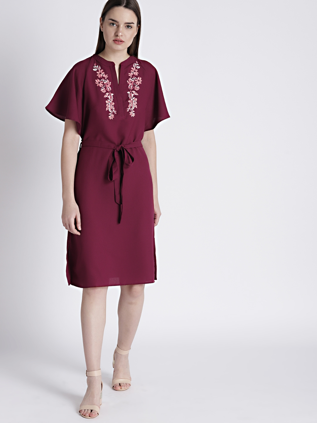 b69962e7a0e7 Buy Chemistry Women Burgundy Embroidered Fit And Flare Dress ...