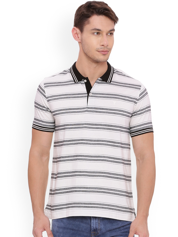 8a0122378 Buy Van Heusen Men White Striped Polo Collar T Shirt - Tshirts for ...