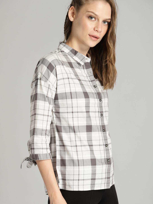 ecc6c590c Buy Roadster Women Off White & Grey Regular Fit Checked Casual Shirt ...