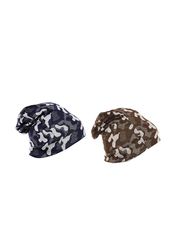 VIMAL JONNEY Men Pack of 2 Camouflage Print Beanie Caps