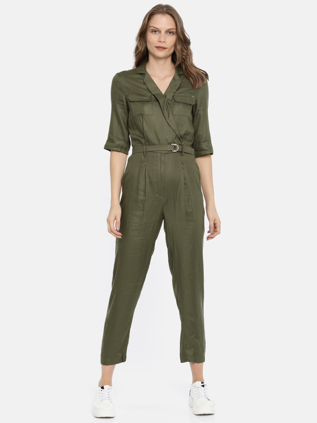 c525d9ebd5fe Buy ONLY Olive Green Solid Basic Jumpsuit - Jumpsuit for Women ...
