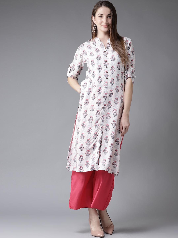 Buy Moda Rapido Women Off White   Blue Printed Straight Kurta ... c5aa654b3