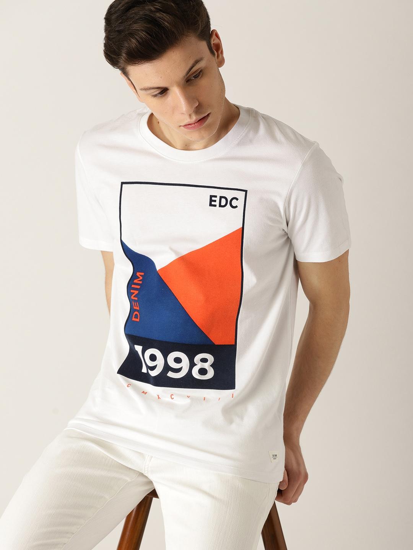 a3dc4824 Buy ESPRIT Men White Printed Round Neck T Shirt - Tshirts for Men ...