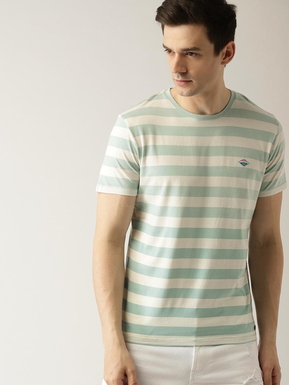 858b51c8877aa Buy ESPRIT Men Off White   Green Striped Round Neck T Shirt ...
