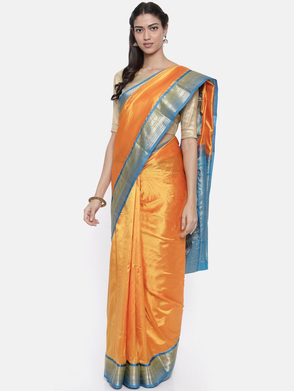The Chennai Silks Classicate Yellow Solid Pure Silk Saree