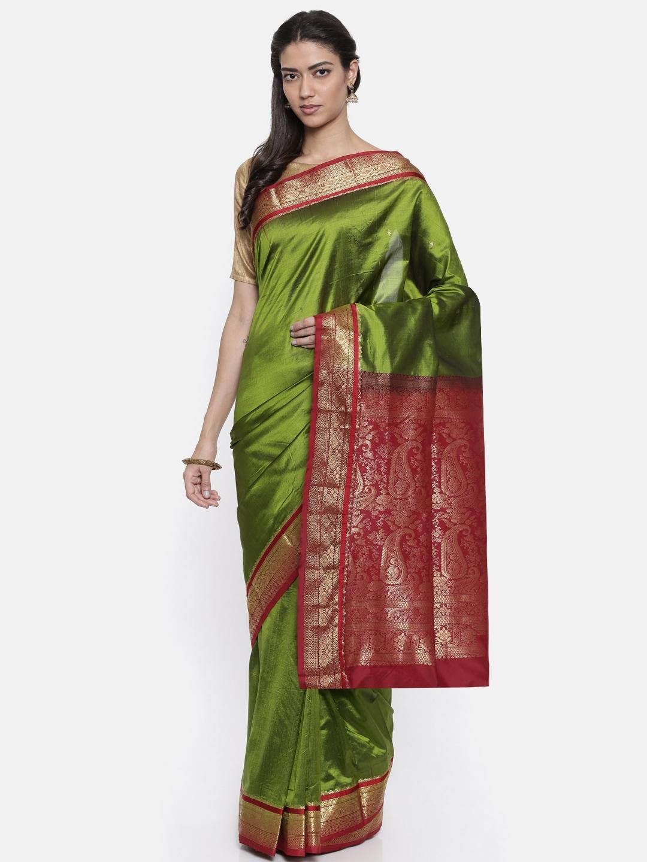 The Chennai Silks Classicate Green Pure Dharmavaram Silk Saree