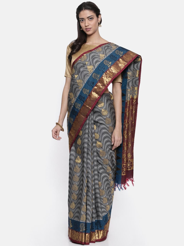 The Chennai Silks Classicate Grey Woven Design Pure Silk Saree