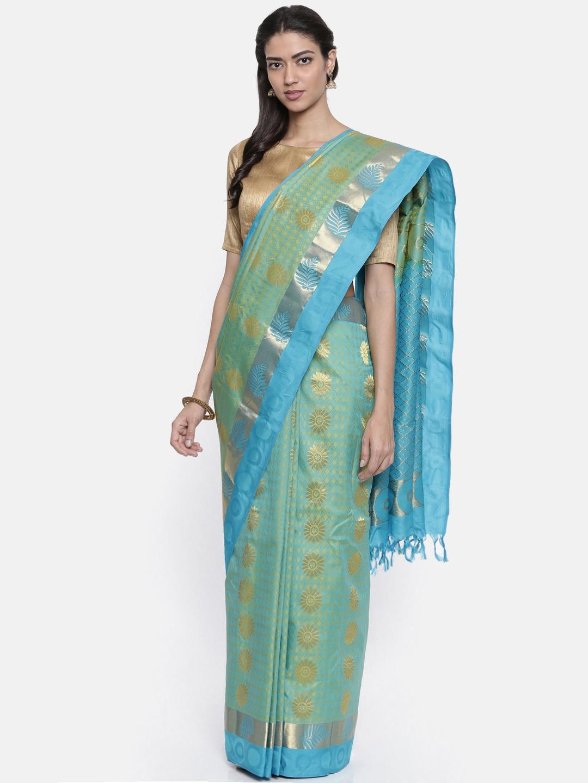 The Chennai Silks Classicate Green Woven Design Pure Silk Saree