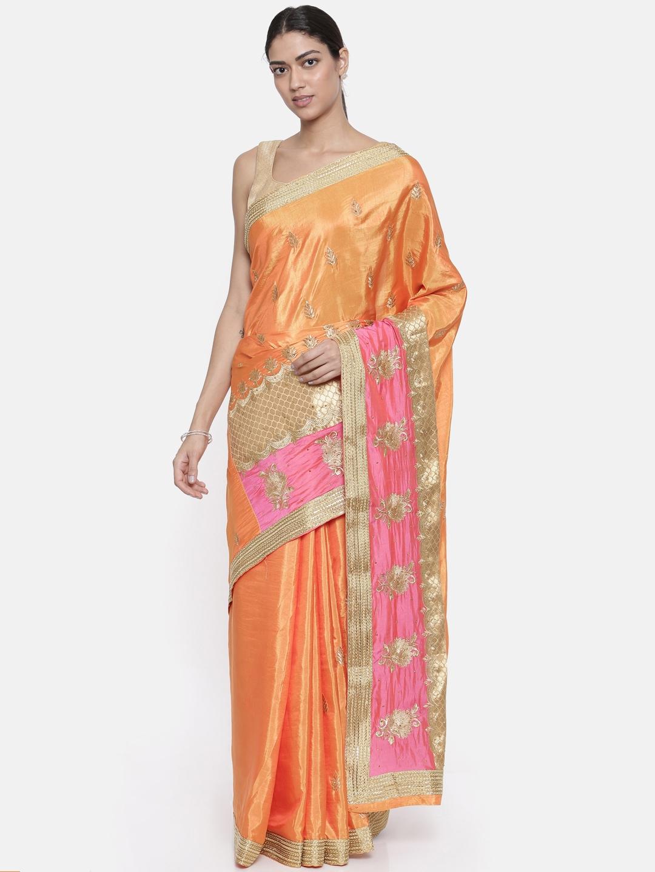 6f7240effc The Chennai Silks Classicate Orange Embellished Banarasi Raw Silk Saree