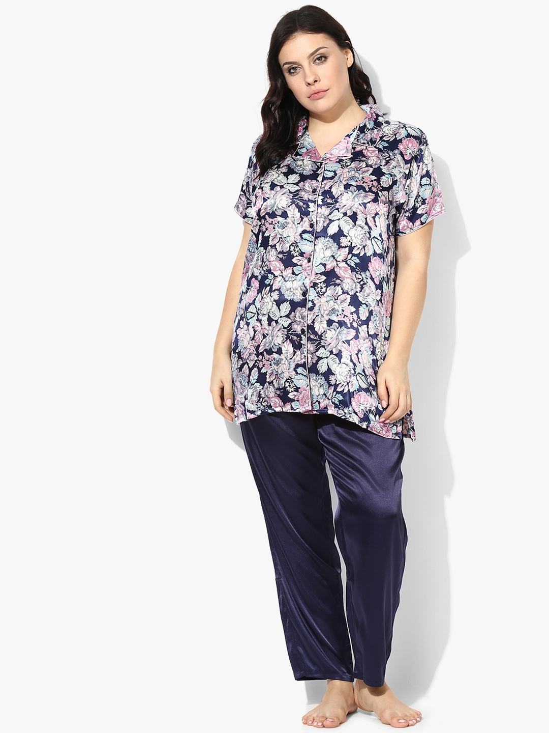 Buy Sweet Dreams Women Navy Blue   Pink Printed Night Suit 276518 ... a15d481fc